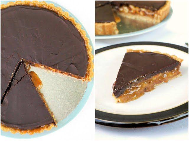 Vegan Peanut Caramel and Chocolate Tart via @adashofvegan. Try with ...