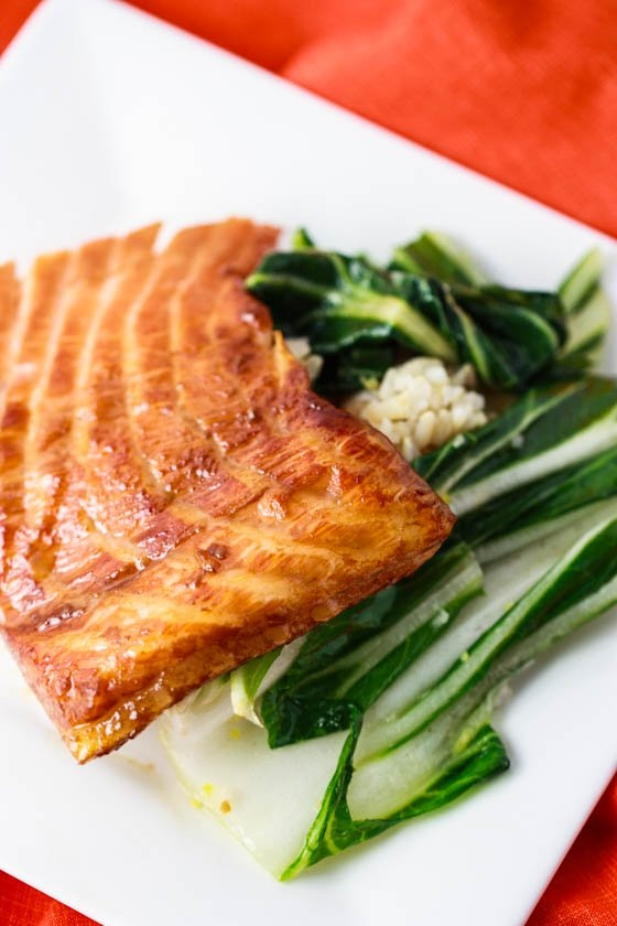 salmon with bok choy honey ginger grilled salmon salmon with honey ...