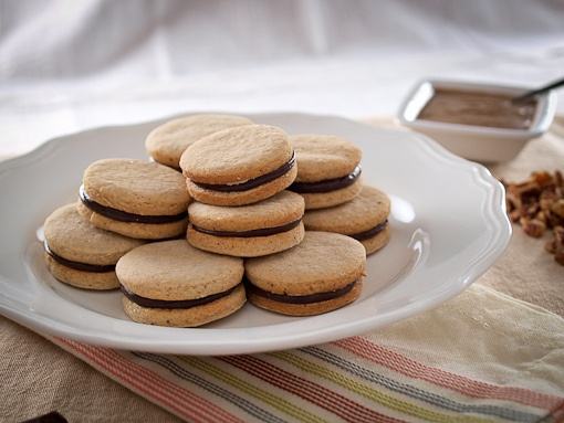 CHOCOLATE FILLED PECAN SHORTBREAD SANDWICH COOKIES by Evil Shenanigans