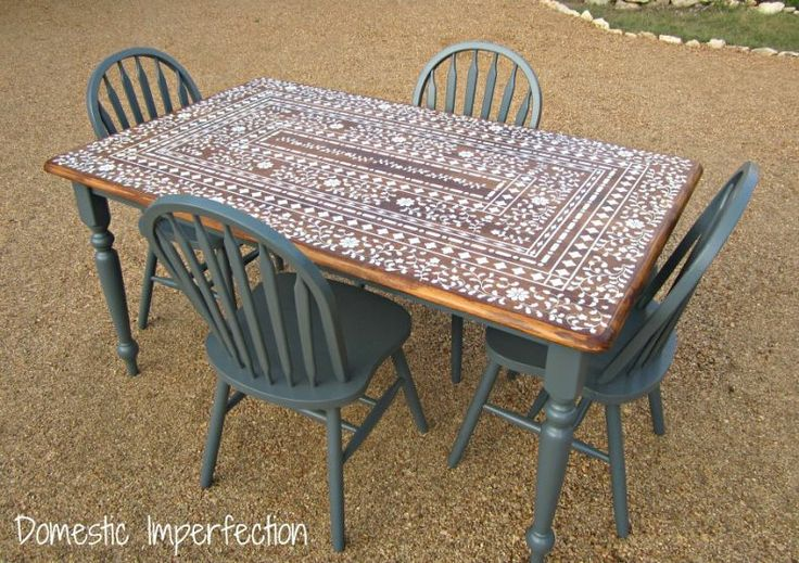 Stenciled tables for Stenciled dining room table