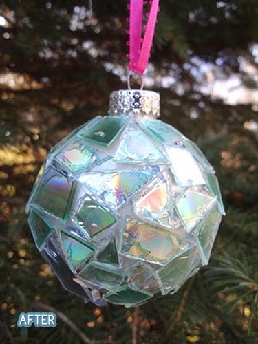 Mosaic ornament made from broken pieces of CDs. Maybe this could be inspiration for a garden gazing ball.