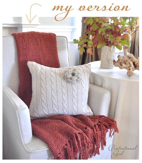 Sweaters used for pillows! DIY Fall & Christmas