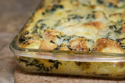 Spinach and cheese strata | Casseroles | Pinterest