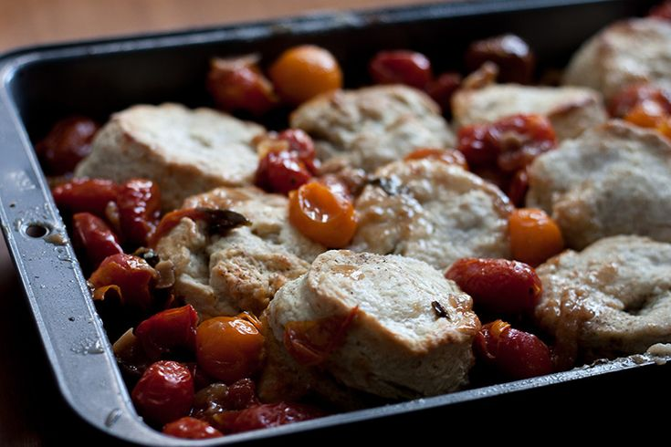 Christmas Morning / Tomato Cobbler with Blue Cheese Biscuits