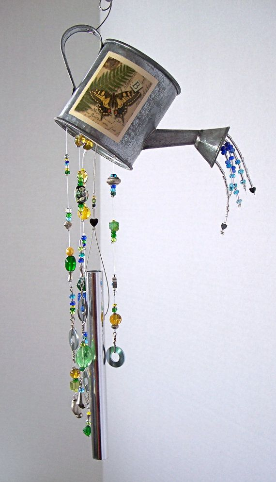 Wind chime small watering can with butterfly garden wind for Wind chimes homemade crafts