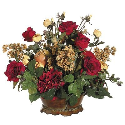 Allstate floral 18 in artificial apple pear lilac and hydrangea floral arrangement flowers for Arrangement floral artificiel