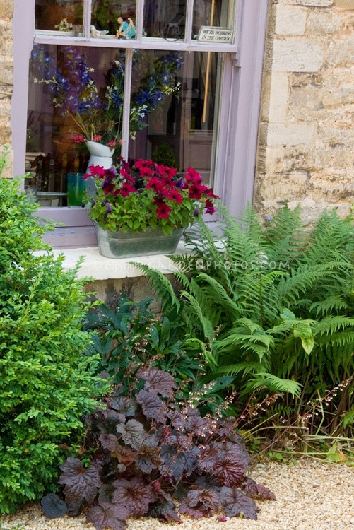 """Pretty garden scene of house window, windowbox of red petunias, underplanted with heuchera Palace Purple in bloom with ferns, vase of larkspur, sign """"We're working in the garden"""""""