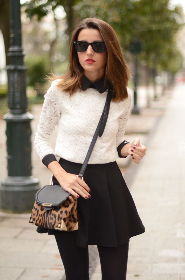 White lace top and black mini skirt