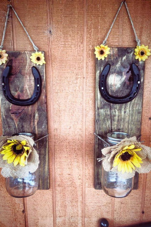Old wood mason jar horseshoe wire horsehoes antlers for Wooden horseshoes for crafts