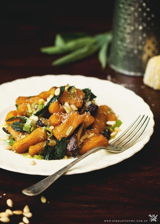 Pumpkin gnocchi, leek, shiitake & sage burnt butter sauce