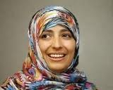 """10/11 --Nobel Peace Prize laureate and Yemeni activist, Tawakkul Karman. She is the first Arab woman to win the Nobel Prize. She founded """"Women Jounalist Without Chains"""" and has played a leading part in the struggle for women's rights and for democracy in Yemen."""