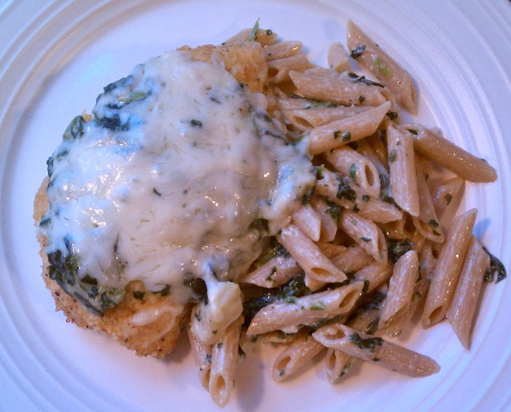 Spinach-Artichoke Chicken Pasta: Bake breaded chicken breast with ...