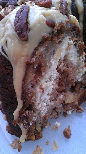 Best Apple Cream Cheese Bundt Cake with Caramel Pecan Frosting...ever!