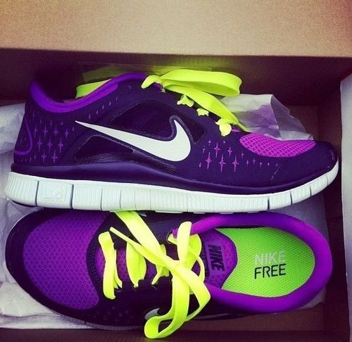 Purple running shoes
