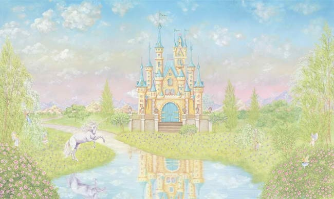 Princess castle large wall mural for Castle wall mural