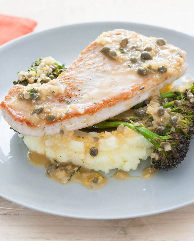 Turkey Cutlets with Mashed Potatoes, Roasted Broccoli & Caper Sauce ...