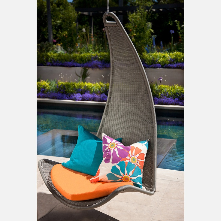 Curve Chair - from Outback Company's Urban Balance collection. Once you've got this beauty in position, you'll happily float in a tranquil state. With a powder-coated aluminum frame, all-weather resin wicker lining, Sunbrella fabric cushion, and hanging hardware, this unique hanging chair is suitable for both indoor and outdoor use.