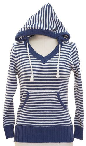 NWT Striped Blue Hoodie Sweater pullover V-neck Juniors sizes S M L XL