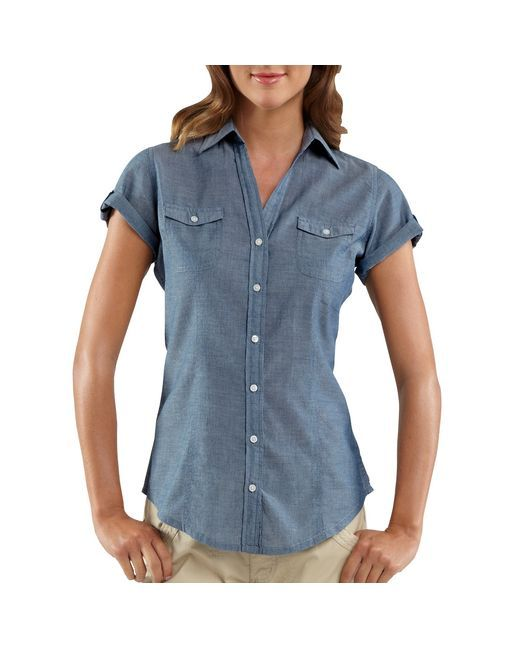 women 39 s short sleeve chambray camp shirt fashion pinterest