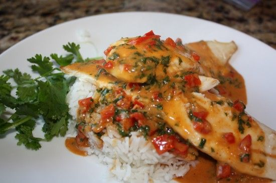 Tilapia with Thai Coconut-Curry Sauce... Wonder if this would be too ...