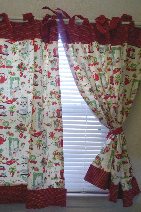 retro 50 39 s kitchen cafe curtains red set of 2 panels 60 0