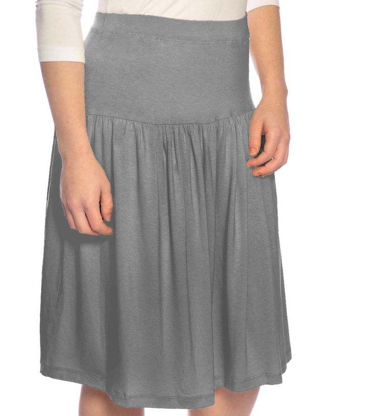 dropped waist modest knee length skirt