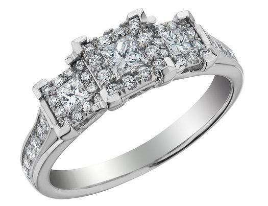 Three Stone Princess Cut Diamond Engagement Ring 23 Carat (ctw) in ...