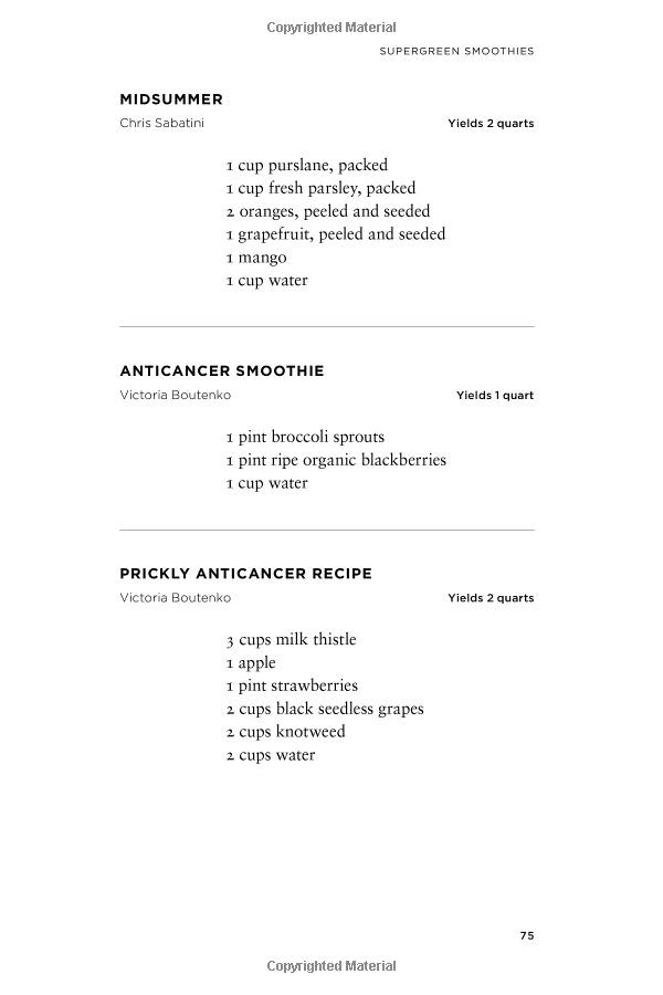 Midsummer Anticancer Smoothie Prickly Anticancer Recipe