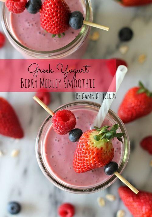 Greek Yogurt Berry Medley Smoothie | What I love | Pinterest