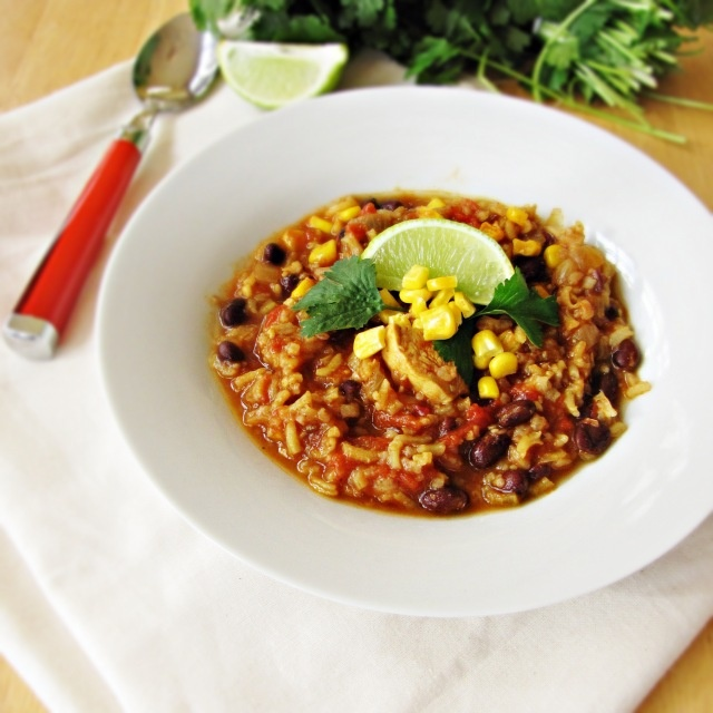 Chili Chicken Stew with Black Beans and Rice