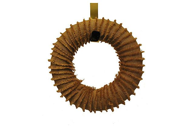 "12"" Burlap Fringe Wreath on OneKingsLane.com"