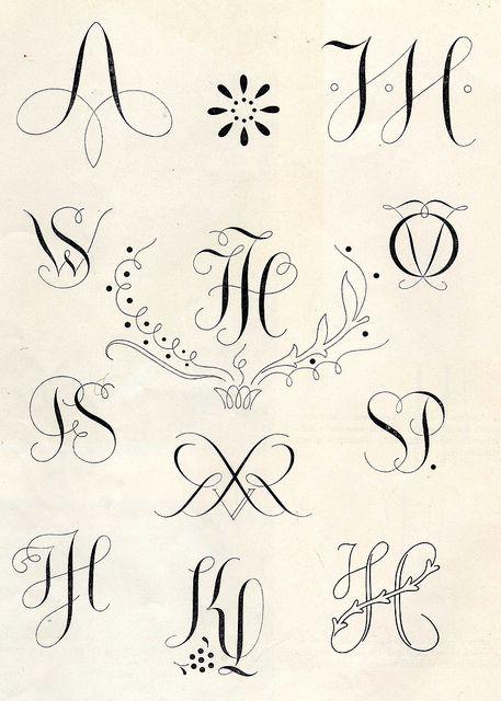 Embroidery monogram patterns from 1950 by Vakuoli