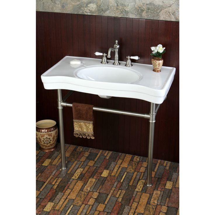 36 Pedestal Sink : Imperial Vintage 36-inch Satin Nickel Pedestal Center Bathroom Sink ...