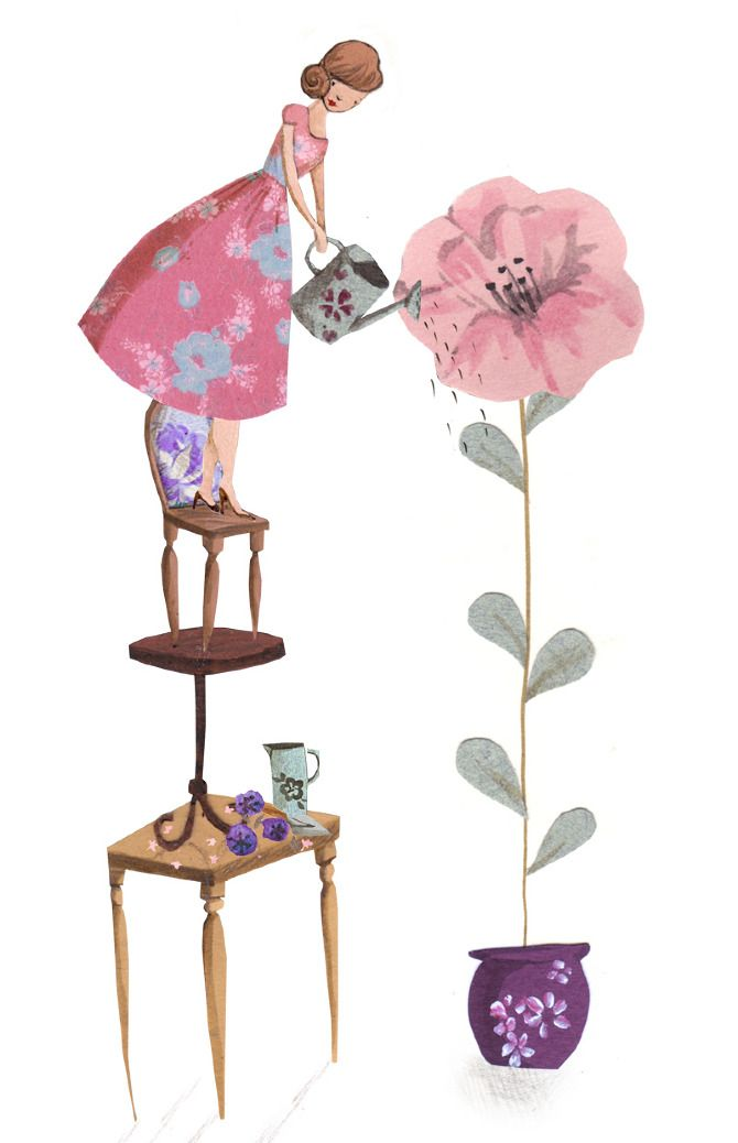 Greetings Cards - Emma Block Illustration. watering a very tall flower.
