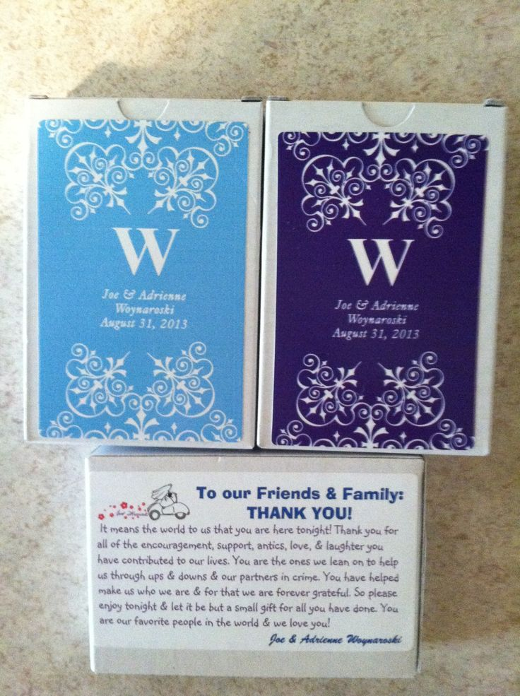 Wedding Favor Tags Vistaprint : Our favors, decks of cards in our wedding colors. Purchased from ...