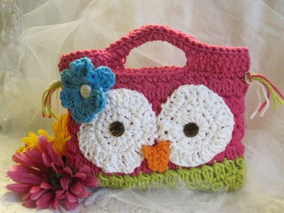 Crochet Purse For Child : FREE Hair bow and Crochet Owl hoot child purse clutch summer colorful