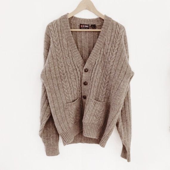 Oversized Cable Knit Cardigan Sweater 78