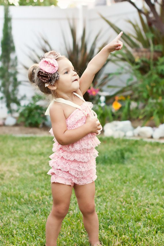 Light pink petti romper WITH headband by PrettyPetalsHair on Etsy, $25.95