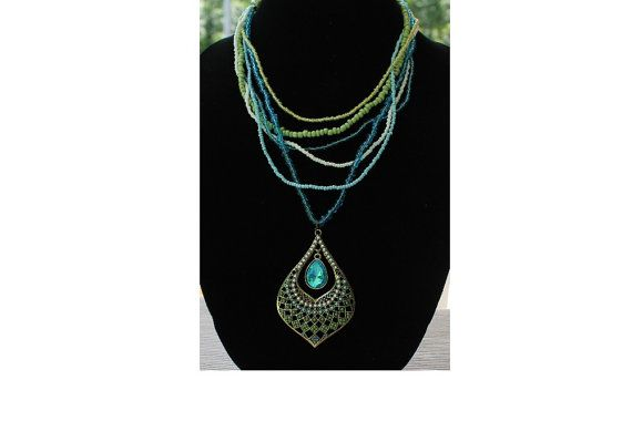 Pendant necklace 21 long with 2.75 pendant in by maluticombo, $28.00