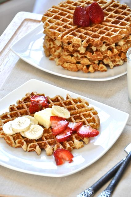 Toasted Oatmeal and Honey Waffles | food | Pinterest