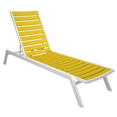 Polywood euro aluminum outdoor chaise lounge with white frame for Aluminum frame chaise lounge