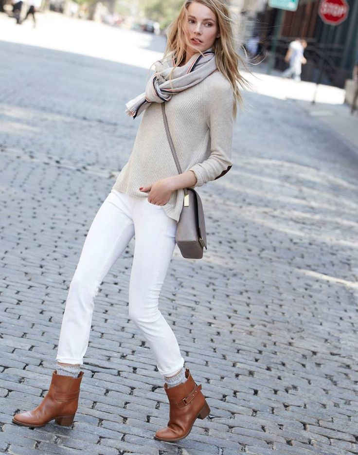 J.CREW Parker ankle boot worn with the elbow-patch sweater and toothpick jean in white.