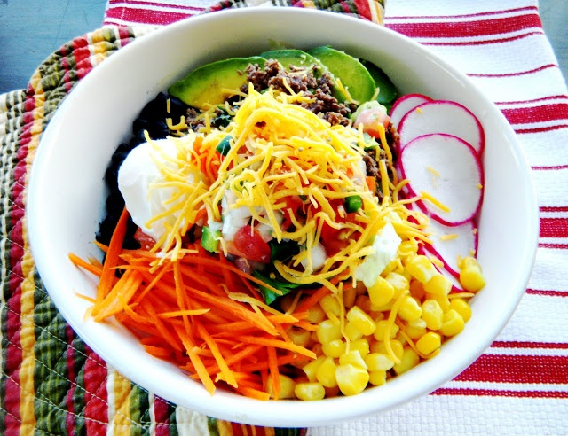 Cherry on My Sundae: Taco salad bowls with Spanish rice