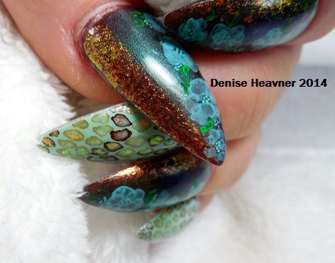 painted nail design using water color paints . Visit me on my