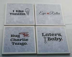Fifty shades of Grey coasters ---Kinda cute. Found them on Etsy!