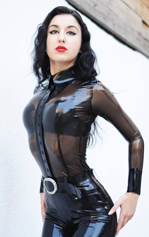 First Time Wearing Latex Catsuit and   Marilyn Yusuf