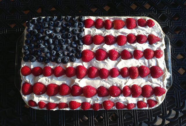 America Flag Cake! angel food cake mix, homemade pudding, cool whip ...