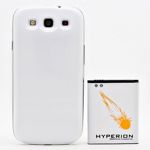 Hyperion Samsung Galaxy SIII 4000mAh Extended Battery + White Back Cover (Compatible with Samsung Galaxy S III GT-i9300, AT Samsung Galaxy S3 Samsung i747, Verizon Samsung Galaxy S3 Samsung i535, T-mobile Samsung Galaxy S3 Samsung T999, U.S. Cellular Samsung Galaxy S3 R530, and Sprint Samsung Galaxy S3 Samsung L710)