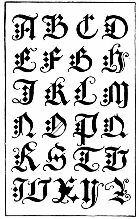 Gothic calligraphy fonts alphabet