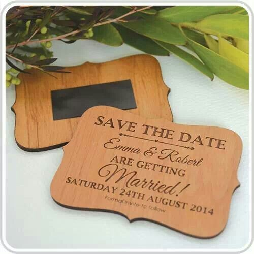 Engraved Wooden Round 'Save the Date' with Magnet